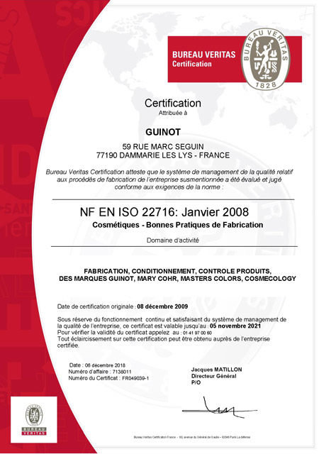 certification ISO22716